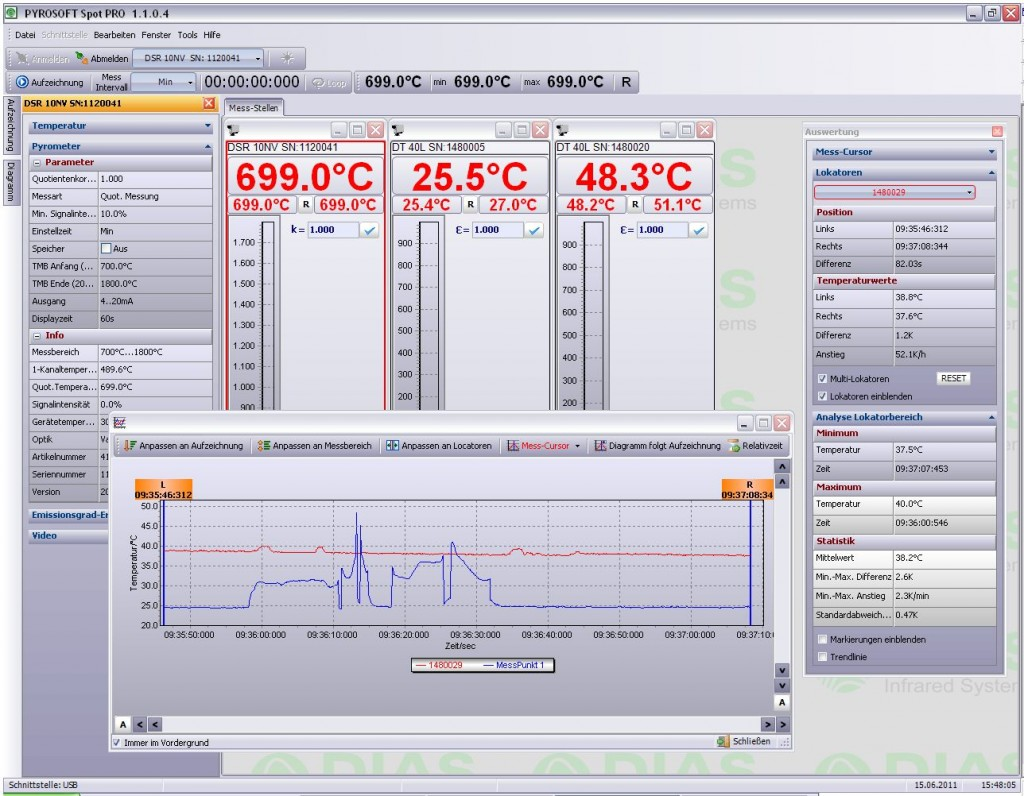 Software for Pyrometers PYROSPOT Spot Pro