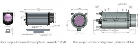 Dimensions of the infrared camera PYROVIEW in compact housing and in industrial protective housing