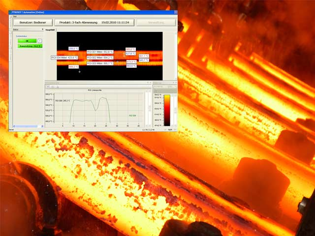 To avoid that reinforcing steel gets brittle during the production a temperature band in the steel production must not be exceeded or underrun. The DIAS infrared line camera PYROLINE offers the possibility to measure the temperatures of the steel without contact and to display the result as a thermal image with temperature profile