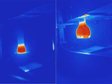Abbildung 5: Messen der Schmiedetemperatur (IR Bilder vor und nach der Pressung)
