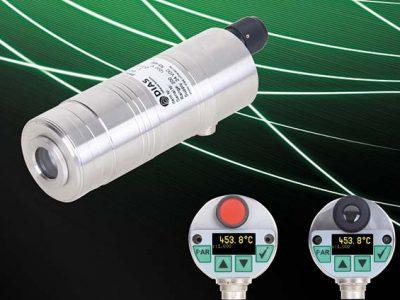 Kompaktes Pyrometer PYROSPOT DGE 56N mit Display und Bedientasten sowie wahlweise Laser-Pilotlicht oder Durchblickvisier