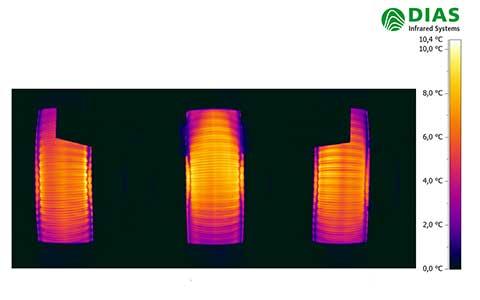 Kontrolle der gleichmäßigen Rohrerwärmung mit 3 IR-Kameras von DIAS