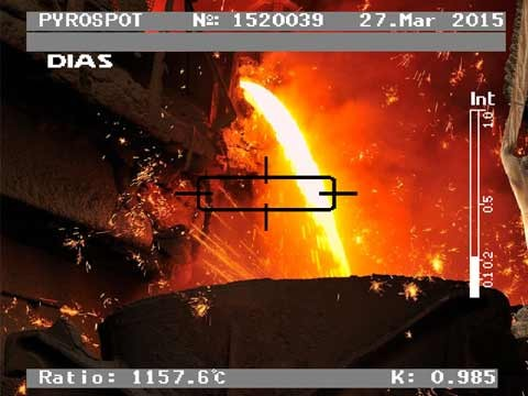 PYROCAST PRO – Detailed view of the video image with rectangular measurement spot for the precise temperature measurement of the casting stream.