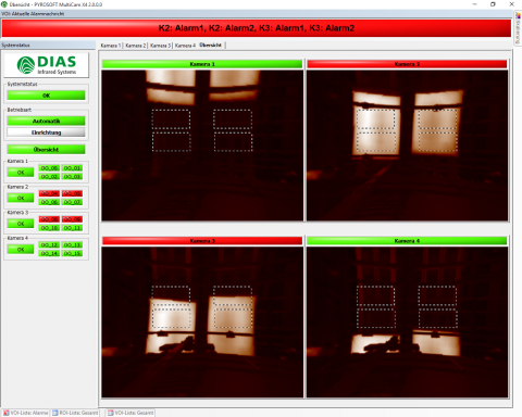 Software for the data acquisition and image display of up to 8 DIAS cameras