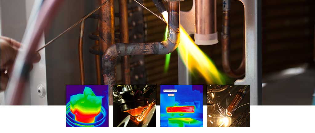Thermal imaging cameras PYROVIEW and thermometers, pyrometers PYROSPOT for measuring the correct process temperature while brazing, soldering, made by DIAS Infrared from Dresden. Made in Germany